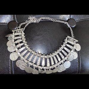 Boho silver coin necklace